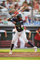 Vermont Lake Monsters designated hitter Eric Marinez (2) at bat during a game against the Auburn Doubledays on July 12, 2016 at Falcon Park in Auburn, New York.  Auburn defeated Vermont 3-1.  (Mike Janes/Four Seam Images)