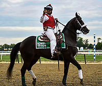 Elmont, NY - JUNE 09: An outrider films the expectant crowd before the gates open for the 150th running of the Belmont Stakes at Belmont Park on June 9, 2018 in Elmont, New York. (Photo by Carson Dennis/Eclipse Sportswire/Getty Images)