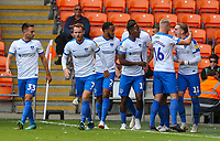 Portsmouth's Ronan Curtis celebrates with teammates after opening the scoring<br /> <br /> Photographer Alex Dodd/CameraSport<br /> <br /> The EFL Sky Bet League One - Blackpool v Portsmouth - Saturday August 11th 2018 - Bloomfield Road - Blackpool<br /> <br /> World Copyright &copy; 2018 CameraSport. All rights reserved. 43 Linden Ave. Countesthorpe. Leicester. England. LE8 5PG - Tel: +44 (0) 116 277 4147 - admin@camerasport.com - www.camerasport.com