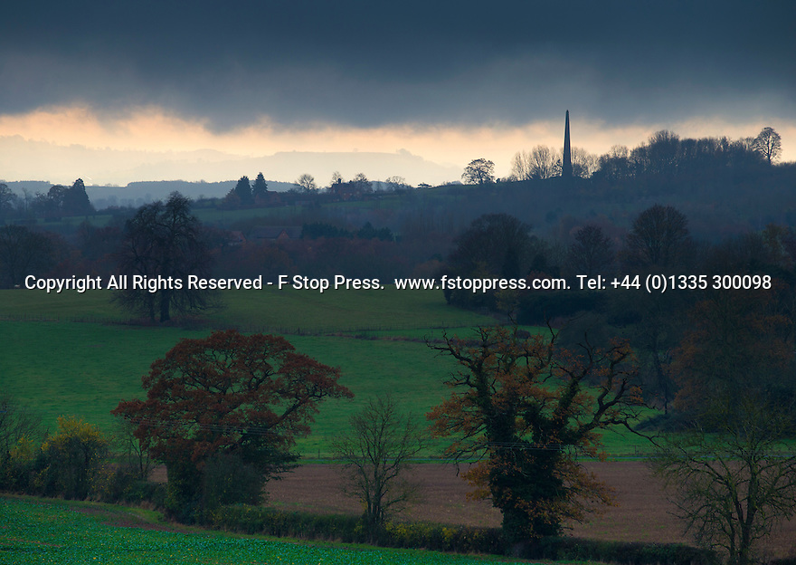 27/11/14<br /> <br /> A weather front moves over the Obelisk to the Philips family, Welcombe Hills Country Park, near Statford-on-Avon, Warwickshire. <br /> <br /> Erected in 1876 by Robert Needham Philips to honour his brother Mark Philips, this obelisk on the hill above the Welcombe Hotel is visible for miles up and down the vale of the Avon. Welcombe was once part of the chief manor of Old Stratford and in Shakespeare's time the Combes family had a considerable estate here.  In 1845 Mark Philips, son of a northern industrialist purchased Welcombe Manor and in the 1860s rebuilt it as the family seat. Today this forms the Welcombe Hotel. Mark Philips was also notable as Manchester's first Member of Parliament.<br /> <br /> ***ANY UK EDITORIAL PRINT USE WILL ATTRACT A MINIMUM FEE OF £130. THIS IS STRICTLY A MINIMUM. USUAL SPACE-RATES WILL APPLY TO IMAGES THAT WOULD NORMALLY ATTRACT A HIGHER FEE . PRICE FOR WEB USE WILL BE NEGOTIATED SEPARATELY***<br /> <br /> <br /> All Rights Reserved - F Stop Press. www.fstoppress.com. Tel: +44 (0)1335 300098