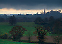 27/11/14<br /> <br /> A weather front moves over the Obelisk to the Philips family, Welcombe Hills Country Park, near Statford-on-Avon, Warwickshire. <br /> <br /> Erected in 1876 by Robert Needham Philips to honour his brother Mark Philips, this obelisk on the hill above the Welcombe Hotel is visible for miles up and down the vale of the Avon. Welcombe was once part of the chief manor of Old Stratford and in Shakespeare&rsquo;s time the Combes family had a considerable estate here.  In 1845 Mark Philips, son of a northern industrialist purchased Welcombe Manor and in the 1860s rebuilt it as the family seat. Today this forms the Welcombe Hotel. Mark Philips was also notable as Manchester&rsquo;s first Member of Parliament.<br /> <br /> ***ANY UK EDITORIAL PRINT USE WILL ATTRACT A MINIMUM FEE OF &pound;130. THIS IS STRICTLY A MINIMUM. USUAL SPACE-RATES WILL APPLY TO IMAGES THAT WOULD NORMALLY ATTRACT A HIGHER FEE . PRICE FOR WEB USE WILL BE NEGOTIATED SEPARATELY***<br /> <br /> <br /> All Rights Reserved - F Stop Press. www.fstoppress.com. Tel: +44 (0)1335 300098