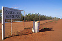 The dingo fence separating New South Wales from Queensland at Hungerford, Qld.