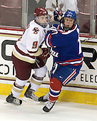 Barry Almeida (BC - 9), Michael Budd (Lowell - 18) - The Boston College Eagles defeated the visiting University of Massachusetts-Lowell River Hawks 5-3 (EN) on Saturday, January 22, 2011, at Conte Forum in Chestnut Hill, Massachusetts.