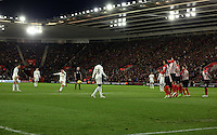 Pictured: Jonjo Shelvey of Swansea takes a free kick Sunday 01 February 2015<br /> Re: Premier League Southampton v Swansea City FC at ST Mary's Ground, Southampton, UK.