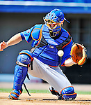 10 March 2012: New York Mets catcher Lucas May takes infield practice prior to a Spring Training game against the Washington Nationals at Space Coast Stadium in Viera, Florida. The Nationals defeated the Mets 8-2 in Grapefruit League play. Mandatory Credit: Ed Wolfstein Photo