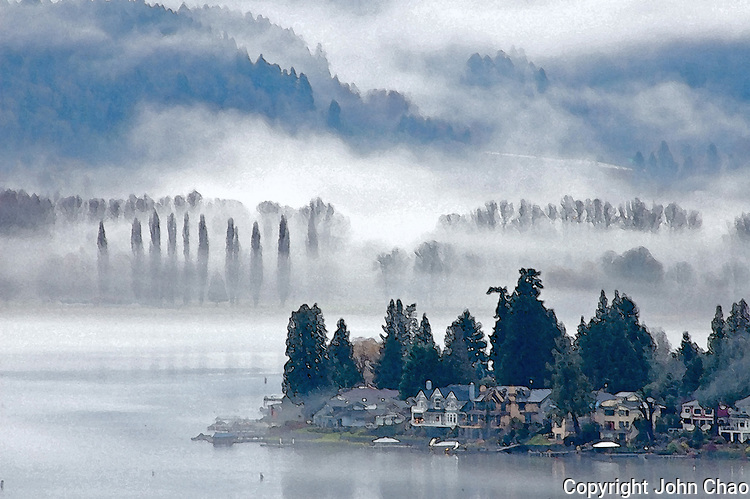 Autumn Mists on South Lake Sammamish, adjusted witn Adobe Photoshop watercolor.