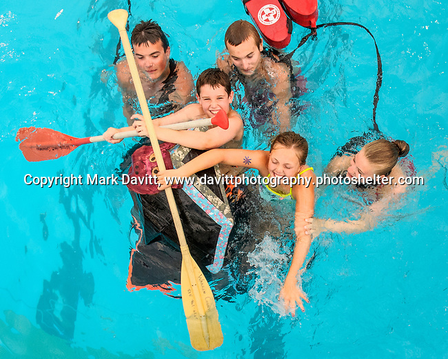 Indianola Park and Recreations hosted cardboard boat races at the Veteran's Memorial Aquatic Center July 22.<br /> <br /> Alexa nauholz and Campbell McGuire<br /> When Pigs Fly <br /> sinks