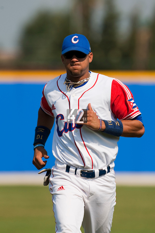 27 September 2009: Yulieski Gourriel of Cuba warms up prior to the 2009 Baseball World Cup gold medal game won 10-5 by Team USA over Cuba, in Nettuno, Italy.