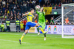 Solna 2014-10-12 Fotboll EM-kval , Sverige - Liechtenstein :  <br /> Sveriges Nabil Bahoui med en m&aring;lchans och kamp om bollen med Liechtensteins m&aring;lvakt goalkeeper Cengiz Bicer <br /> (Photo: Kenta J&ouml;nsson) Keywords:  Sweden Sverige Friends Arena EM Kval EM-kval UEFA Euro European 2016 Qualifying Group Grupp G Liechtenstein