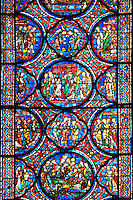 Medieval stained glass Window of the Gothic Cathedral of Chartres, France. A UNESCO World Heritage Site..