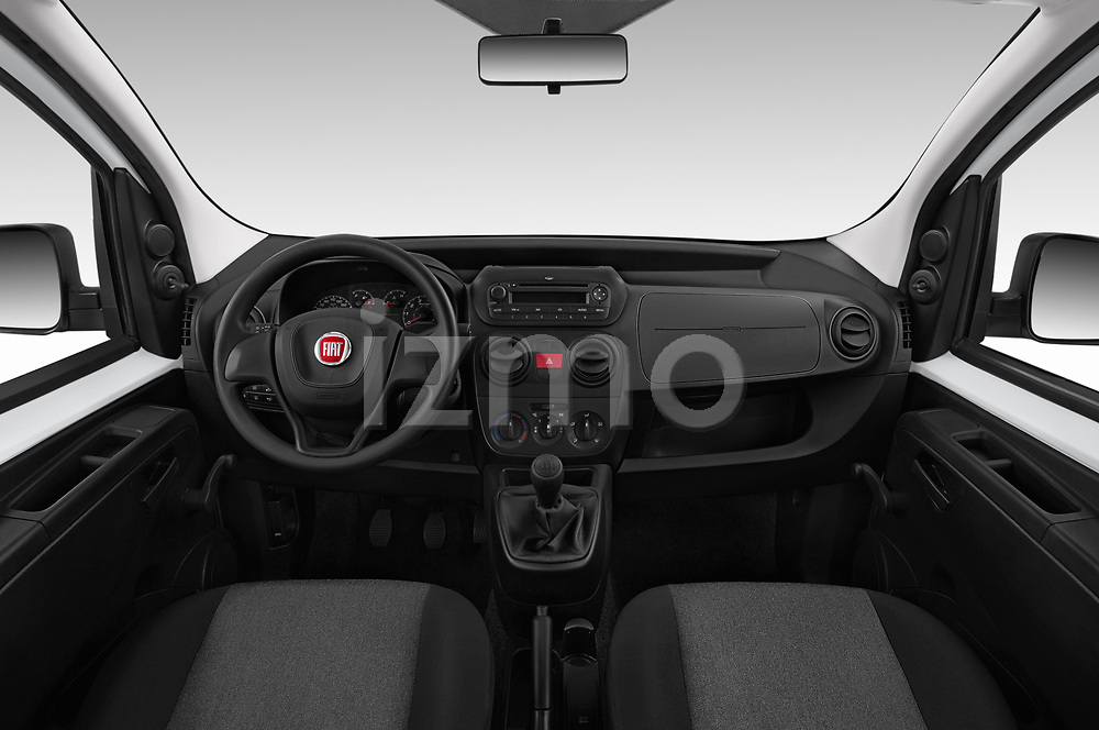 Stock photo of straight dashboard view of a 2018 Fiat Fiorino Base 5 Door MPV