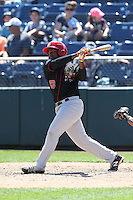 Gabriel Cenas (23) of the Vancouver Canadians bats during a game against the Everett AquaSox at Everett Memorial Stadium on July 28, 2015 in Everett, Washington. Everett defeated Vancouver, 8-5. (Larry Goren/Four Seam Images)