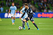 3rd November 2017, Melbourne Rectangular Stadium, Melbourne, Australia; A-League football, Melbourne City FC versus Sydney FC; Milos Ninkovic of Sydney FC competes with Luke Brattan of Melbourne City FC