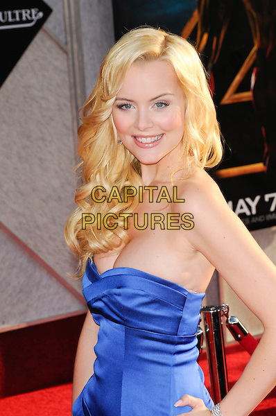 "HELENA MATTSSON .at Paramount Pictures and Marvel Entertainment's world premiere of ""Iron Man 2"" at El Capitan Theatre in Hollywood, California, USA, .April 26th, 2010..half length strapless blue dress hand on hip cleavage  smiling silk satin .CAP/ROT.©Lee Roth/Capital Pictures"