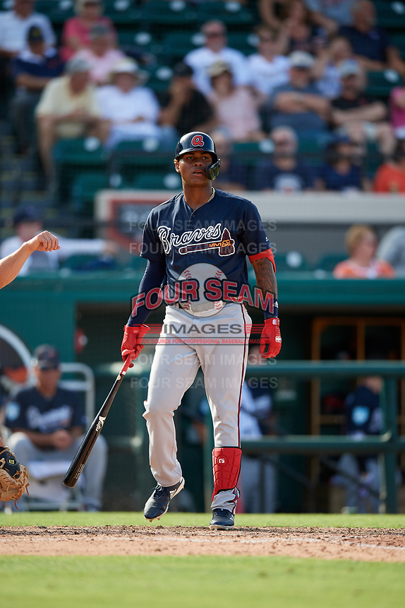 Atlanta Braves center fielder Cristian Pache (77) at bat during a Grapefruit League Spring Training game against the Detroit Tigers on March 2, 2019 at Publix Field at Joker Marchant Stadium in Lakeland, Florida.  Tigers defeated the Braves 7-4.  (Mike Janes/Four Seam Images)