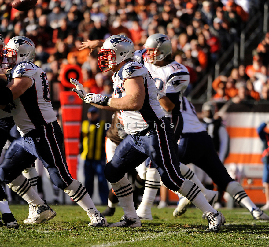 DAN CONNOLLY, of the New England Patriots, in action during the Patriots game against the Cleveland Browns on November 7, 2010 at Cleveland Browns Stadium in Cleveland, Ohio.  ..The Browns beat the Patriots 34-14...