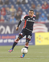 New England Revolution forward Fernando Cardenas (80) controls the ball. In a Major League Soccer (MLS) match, the New England Revolution defeated Chicago Fire, 2-0, at Gillette Stadium on June 2, 2012.