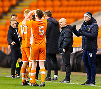 Blackpool's manager Danny Ventre gives instructions to his team during a break in play<br /> <br /> Photographer Alex Dodd/CameraSport<br /> <br /> The FA Youth Cup Third Round - Blackpool U18 v Derby County U18 - Tuesday 4th December 2018 - Bloomfield Road - Blackpool<br />  <br /> World Copyright © 2018 CameraSport. All rights reserved. 43 Linden Ave. Countesthorpe. Leicester. England. LE8 5PG - Tel: +44 (0) 116 277 4147 - admin@camerasport.com - www.camerasport.com