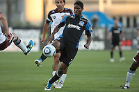 San Jose Earthquakes midfielder Khari Stephenson (7) controls the ball during the Colorado Rapids 2-1 victory over the San Jose Earthquakes at Buck Shaw Stadium in Santa Clara, California.
