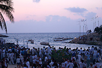 Canoes leaving the village of Ppole during the Sacred Mayan Journey 2011 event, Riviera Maya, Quintana Roo, Mexico