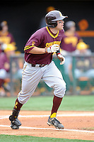 Arizona State Sun Devils left fielder Kasey Coffman #8 runs to first base during a game against  the Tennessee Volunteers at Lindsey Nelson Stadium on February 23, 2013 in Knoxville, Tennessee. The Volunteers won 11-2.(Tony Farlow/Four Seam Images).