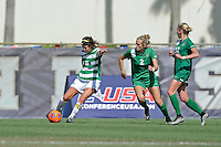 8 November 2015:  North Texas Defender Molly Grisham (6) advances the ball as Marshall Midfielder/Forward Jayne Lawman (2) and Erin Simmons (32) look on in the second half as the University of North Texas Mean Green defeated the Marshall University Thundering Herd, 1-0, in the Conference USA championship game at University Park Stadium in Miami, Florida.