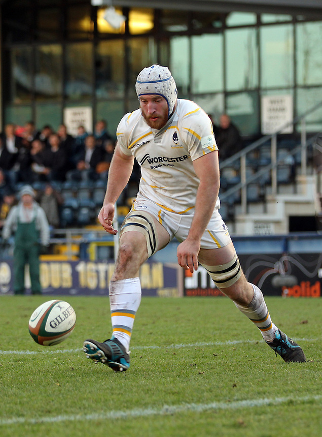 Worcester&rsquo;s  Mat Gilbert in action during today's match <br /> <br /> Photographer Rachel Holborn/CameraSport<br /> <br /> Rugby Union - British and Irish Cup Quarter Final - Worcester Warriors v Pontypridd - Saturday 24th January 2015 - Sixways Stadium - Worcester<br /> <br /> &copy; CameraSport - 43 Linden Ave. Countesthorpe. Leicester. England. LE8 5PG - Tel: +44 (0) 116 277 4147 - admin@camerasport.com - www.camerasport.com