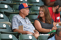 Bob Tebow, father of Tim Tebow of the Columbia Fireflies, watches the action in a game against the Greenville Drive on Wednesday, June 14, 2017, at Fluor Field at the West End in Greenville, South Carolina. Columbia won, 6-2, in 11 innings. (Tom Priddy/Four Seam Images)
