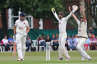 Ben Foakes of Surrey successfully appeals for the wicket of Nick Browne, trapped lbw by Gareth Batty during Surrey CCC vs Essex CCC, Specsavers County Championship Division 1 Cricket at Guildford CC, The Sports Ground on 10th June 2017