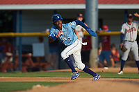 Maikel Garcia (2) of the Burlington Royals takes off for second base during the game against the Danville Braves at Burlington Athletic Stadium on August 9, 2019 in Burlington, North Carolina. The Royals defeated the Braves 6-0. (Brian Westerholt/Four Seam Images)