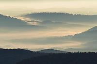 Fog filled valleys and mountain ridges, Blue Ridge Mountains from Blue Ridge Parkway, North Carolina