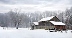 A Barn And Antique Wagons In Winter Snow, Southwestern Ohio, USA