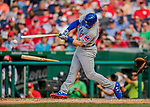 29 June 2017: Chicago Cubs outfielder Ian Happ splits his bat, getting an infield single in the 6th inning against the Washington Nationals at Nationals Park in Washington, DC. The Cubs rallied to defeat the Nationals 5-4 and split their 4-game series. Mandatory Credit: Ed Wolfstein Photo *** RAW (NEF) Image File Available ***