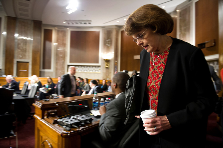 UNITED STATES - May 14: Sen. Dianne Feinstein, D-C., arrives at the Senate Judiciary Committee hearing on the continued consideration of the border security, economic opportunity and immigration modernization act on Capitol Hill May 14, 2013 in Washington, DC. The 18 members of the committee have proposed in excess of 300 amendments to the 844 page piece of legislation that would, if passed, create a path to U.S. citizenship for undocumented immigrants. (Photo By Douglas Graham/CQ Roll Call)