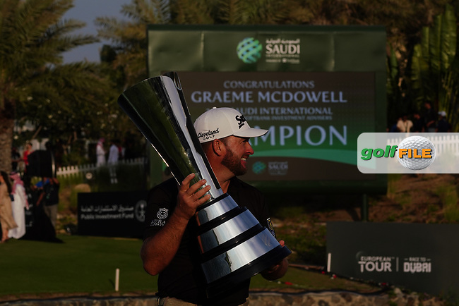 Graeme McDowell (NIR) winner of the Saudi International at the Royal Greens Golf and Country Club, King Abdullah Economic City, Saudi Arabia. 02/02/2020<br /> Picture: Golffile | Thos Caffrey<br /> <br /> <br /> All photo usage must carry mandatory copyright credit (© Golffile | Thos Caffrey)