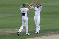 Ben Coad of Yorkshire celebrates taking the wicket of Adam Wheater during Essex CCC vs Yorkshire CCC, Specsavers County Championship Division 1 Cricket at The Cloudfm County Ground on 8th July 2019