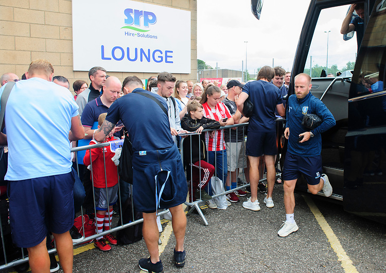 Sheffield Wednesday's Barry Bannan gets off the team bus after arriving at Sincil Bank<br /> <br /> Photographer Chris Vaughan/CameraSport<br /> <br /> Football Pre-Season Friendly - Lincoln City v Sheffield Wednesday - Saturday July 13th 2019 - Sincil Bank - Lincoln<br /> <br /> World Copyright © 2019 CameraSport. All rights reserved. 43 Linden Ave. Countesthorpe. Leicester. England. LE8 5PG - Tel: +44 (0) 116 277 4147 - admin@camerasport.com - www.camerasport.com