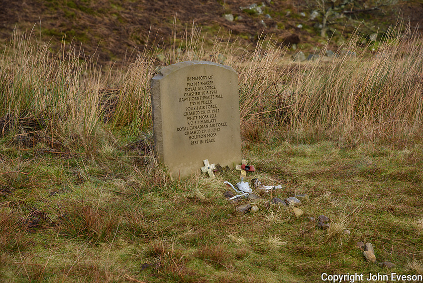 Memorial stone dedicated to airmen who died in crashes at Landgen and Sykes Fell during the Second World War, Dunsop Bridge, Lancashire.