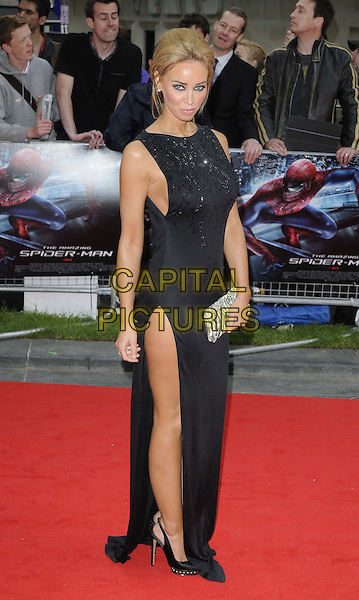 Lauren Pope.The 'The Amazing Spider-Man' UK film premiere, Odeon Leicester Square cinema, London, England..June 18th, 2012.full length black dress sleeveless slit split silver clutch bag.CAP/CAN.©Can Nguyen/Capital Pictures.