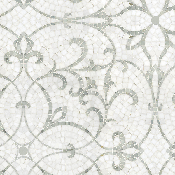Marabel, a hand-cut stone mosaic shown in honed Thassos and polished Afyon White, is part of the Silk Road collection by Sara Baldwin for New Ravenna.