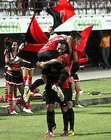 CÚCUTA -COLOMBIA, 17-04-2013.  Jugadores del Cúcuta celebra un gol en contra de Envigado durante partido de la fecha 11 Liga Postobón 2013-1./ Cucuta's players celebrate a goal against Envigado during match of the11th date of Postobon  League 2013-1. Photo: VizzorImage/STR