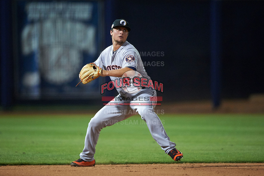 Glendale Desert Dogs third baseman J.D. Davis (45) throws to first during an Arizona Fall League game against the Peoria Javelinas on October 19, 2015 at Peoria Stadium in Peoria, Arizona.  Glendale defeated Peoria 4-2.  (Mike Janes/Four Seam Images)