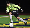Kevin Fernandes #1, Carle Place goalie, reacts to a kick during team's win in penalty picks (2-1) over Center Moriches in the varsity boys soccer Class B Long Island Championship at Berner Middle School in Massapequa on Tuesday, Oct. 30, 2018.