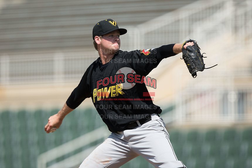 West Virginia Power relief pitcher Mike Wallace (48) in action against the Kannapolis Intimidators at Kannapolis Intimidators Stadium on June 18, 2017 in Kannapolis, North Carolina.  The Intimidators defeated the Power 5-3 to win the South Atlantic League Northern Division first half title.  It is the first trip to the playoffs for the Intimidators since 2009.  (Brian Westerholt/Four Seam Images)