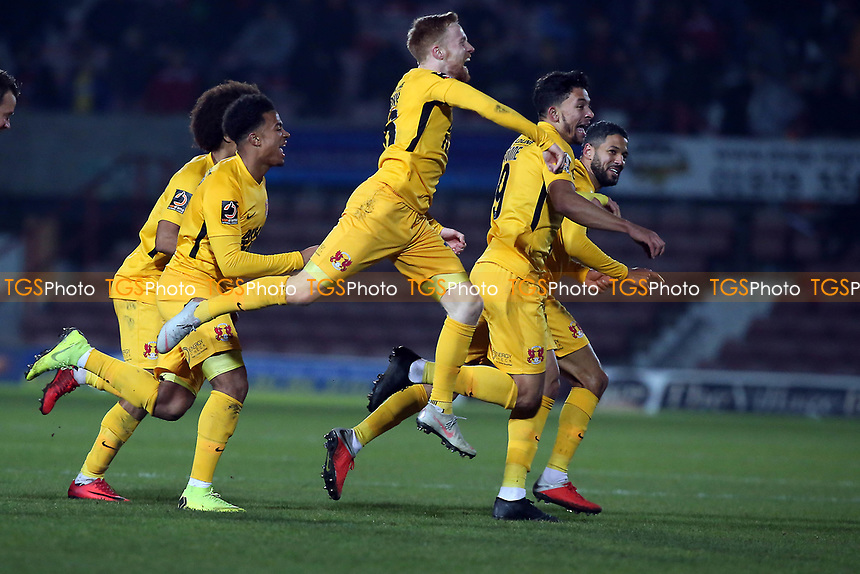 O's 2nd goalscorer James Brophy celebrates scoring O's 2nd goal during Wrexham vs Leyton Orient, Vanarama National League Football at the Racecourse Ground on 24th November 2018