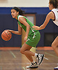 Sydney Moore #3 of Farmingdale dribbles downcourt during a non-league girls basketball game against host Manhasset High School on Saturday, Dec. 8, 2018.