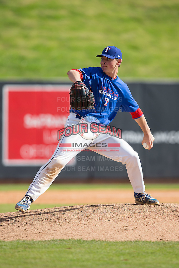 Ryan Shinn (17) of Northern Burlington High School in Columbus, New Jersey playing for the Texas Rangers scout team at the South Atlantic Border Battle at Doak Field on November 2, 2014.  (Brian Westerholt/Four Seam Images)