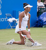 June 13th 2017, Nottingham, England; WTA Aegon Nottingham Open Tennis Tournament day 4;  Heather Watson of Great Britain becoming frustrated with her performance against Alison Riske of USA