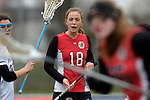 GER - Mainz, Germany, March 20: During the 1. Bundesliga Damen lacrosse match between Mainz Musketeers (white) and SC Frankfurt 1880 (red) on March 20, 2016 at Sportgelaende Dalheimer Weg in Mainz, Germany. Final score 7-12 (HT 3-5). (Photo by Dirk Markgraf / www.265-images.com) *** Local caption *** Lilly Haus #18 of SC Frankfurt 1880