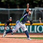 4 September 2017: Vermont Lake Monsters pitcher Heath Donica on the mound during the first game of a double-header against the Tri-City ValleyCats at Centennial Field in Burlington, Vermont. The Lake Monsters split their games, falling 6-5 in the first, then winning the second 7-4, thus clinching the NY Penn League Stedler Division Championship. Mandatory Credit: Ed Wolfstein Photo *** RAW (NEF) Image File Available ***